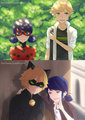 Ladybug and Adrien/Chat Noir and Marinette
