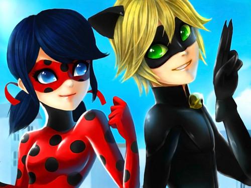 Miraculous Ladybug Hintergrund with sunglasses entitled Ladybug and Chat Noir