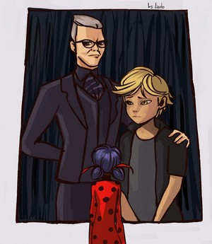 Ladybug looking at Adrien and Gabriel portrait