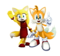 Miles Tails Prower and Zooey the zorro, fox Together