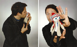 Misha with a Cas doll