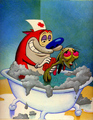 Nurse Stimpy giving Ren a bubbly sponge bath