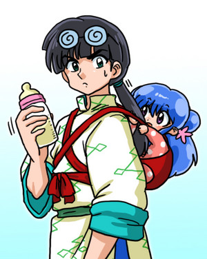 Ranma 1/2 Shanpū and Mūsu (Mousse Baby sitting)