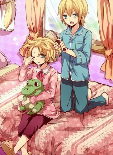 Rin und Len Kagamine Hintergrund with Anime entitled Rin and Len Kagaime Getting Ready