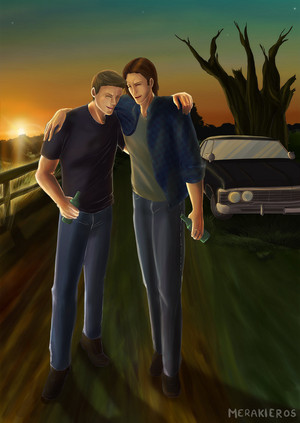 Sam/Dean Fanart - Sunset And Soon Stargazing