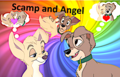 Scamp and Angel  - disney fan art