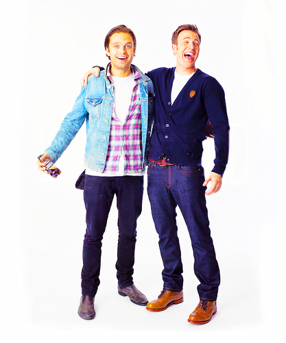 Chris Evans & Sebastian Stan wallpaper with a well dressed person, bellbottom trousers, and an outerwear called Sebastian Stan and Chris Evans