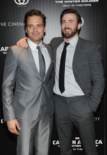 Chris Evans & Sebastian Stan wallpaper containing a business suit, a suit, and a three piece suit called Sebastian Stan and Chris Evans
