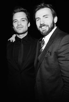 Chris Evans & Sebastian Stan kertas dinding containing a business suit and a suit titled Sebastian Stan and Chris Evans