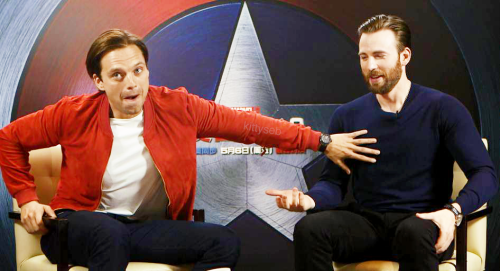 Chris Evans & Sebastian Stan wallpaper containing a business suit entitled Sebastian Stan and Chris Evans