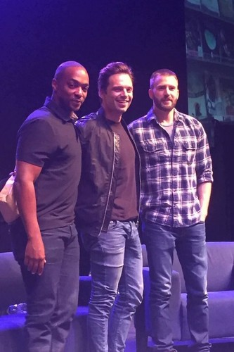 Chris Evans & Sebastian Stan Обои possibly with a концерт and long trousers entitled Sebastian and Chris with Anthony Mackie
