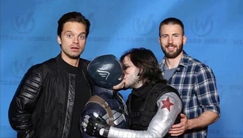 Chris Evans & Sebastian Stan 바탕화면 possibly containing a wicket, a workwear, and a golf bag entitled Sebastian and Chris with 팬