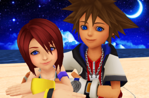 Sora and Kairi KH1 Beautiful Stars Fall in cinta