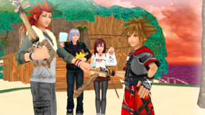 Sora and Lea Practing Keyblade Training with Riku and Kairi.
