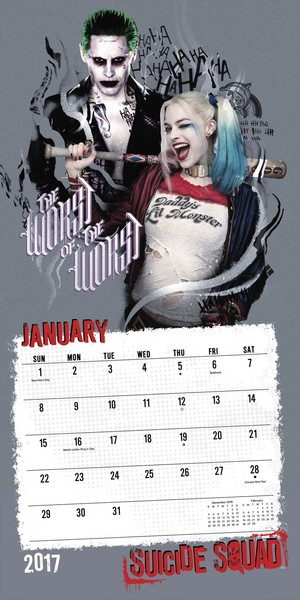 Suicide Squad 2017 Calendar - January - Harley and The Joker