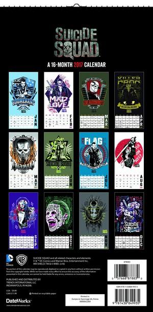 Suicide Squad - 2017 Mini Poster Calendar - Back