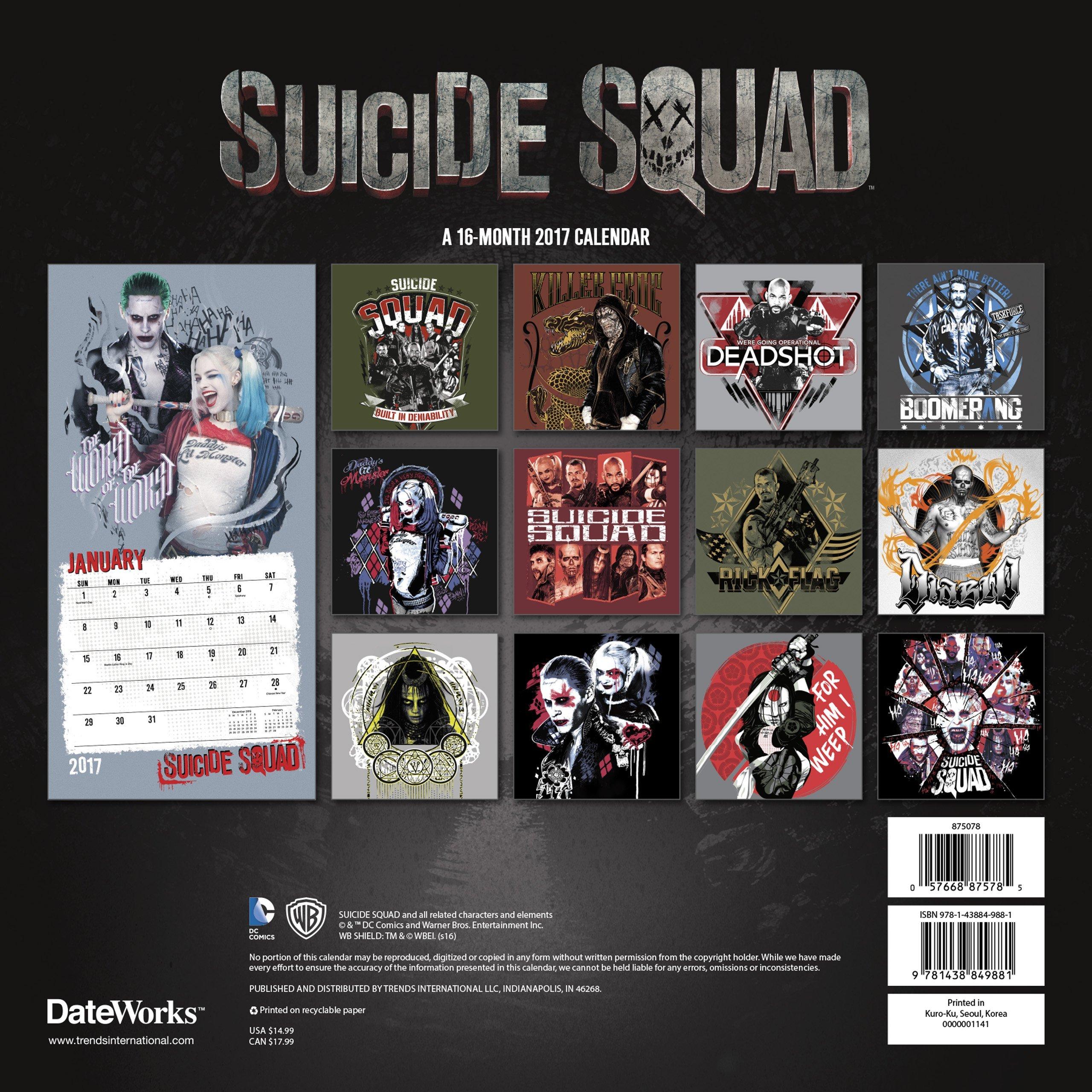 Suicide Squad - 2017 Wall Calendar - Back