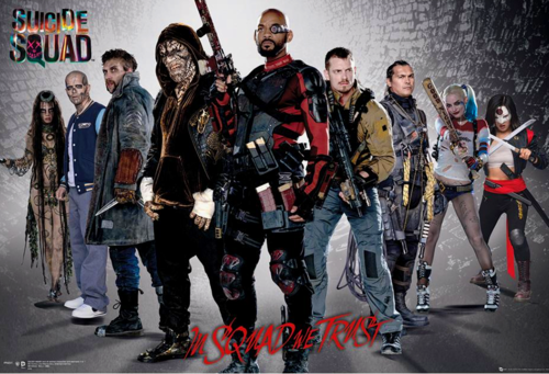Suicide Squad wallpaper possibly containing a green beret, a rifleman, and a músico de banda, bandasman, bandsman titled Suicide Squad - Group Poster