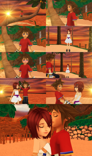 Sunset datum Dream Short Story KH1 Sora x Kairi