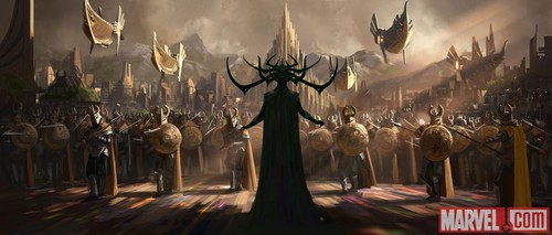 Thor: Ragnarok پیپر وال probably containing a business district, a street, and a چولی, براسری entitled Thor: Ragnarok - Concept Art - Hela