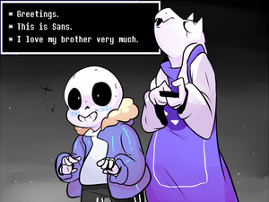 Toriel texting Frisk with Sans' phone