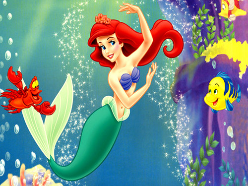 Walt Disney Characters wallpaper probably containing anime titled Walt Disney Wallpapers - Sebastian, Princess Ariel & Flounder