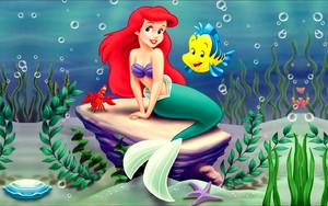 Walt ディズニー 壁紙 - Sebastian, Princess Ariel & ヒラメ