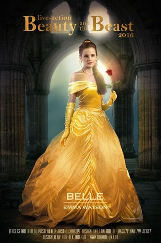 Beauty and the Beast (2017) پیپر وال with a bridal gown, a gown, and a hoopskirt entitled belle bete