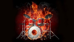 drums огонь demon skull stuff hd Обои