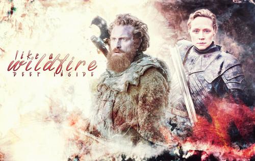 Game of Thrones karatasi la kupamba ukuta possibly containing anime entitled Tormund Giantsbane & Brienne of Tarth