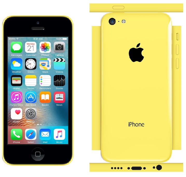 iPhone 5c Papercraft Yellow (iOS 9)