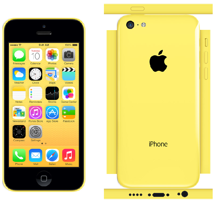 iPhone 5c Papercraft Yellow