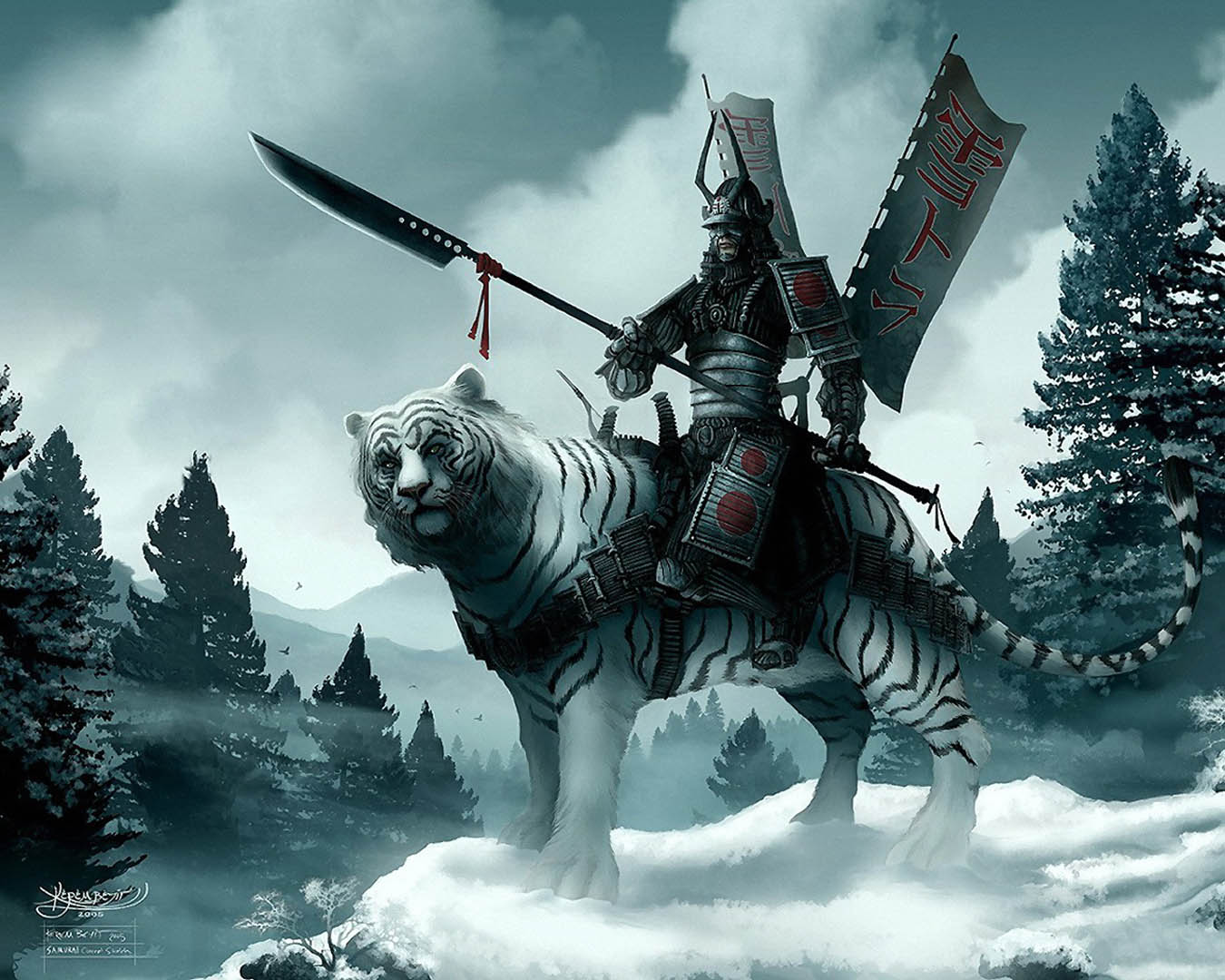 Tomoyea91698 Images Japanese Warrior Mounted On Snow Tiger Hd