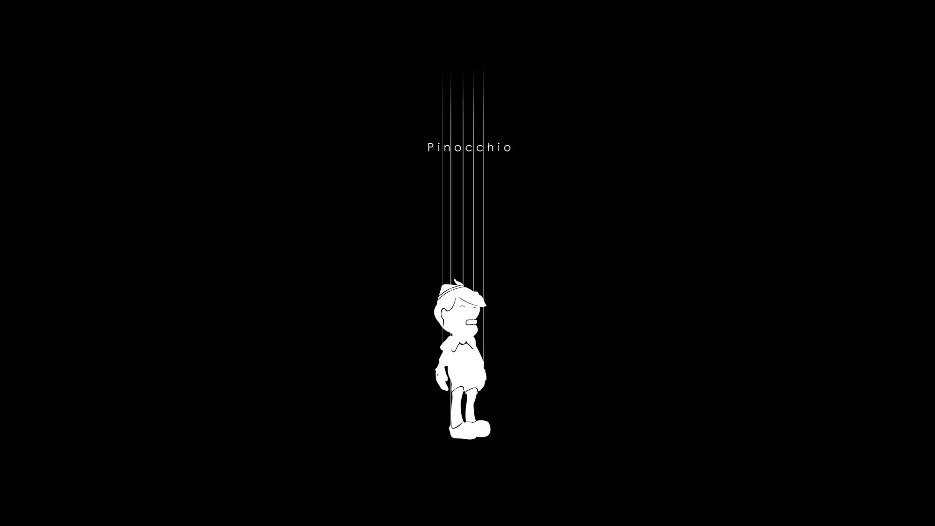 minimalistic pinocchio black background