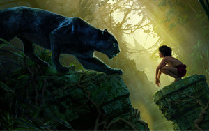 mowgli bagheera black panthère the jungle book wide