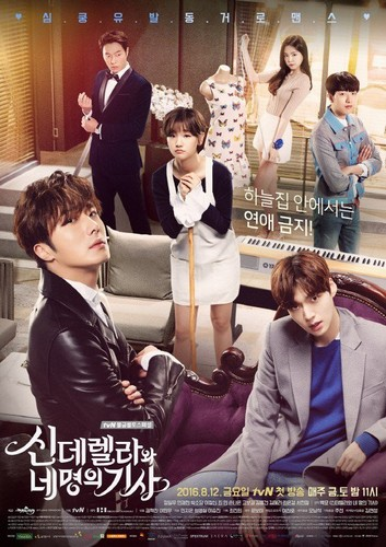 Drama Korea kertas dinding possibly with a business suit and a well dressed person titled 'Cinderella and Four Knights' official poster