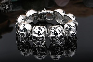 2015 New The Expendables Bracelet 316L Titanium Steel Skulls Bracelet Cool Men s Bracelet 22CM High