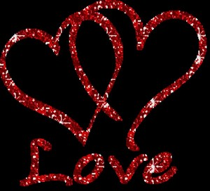 ANIMATED RED SPARKLY HEARTS WITH LOVE 1024