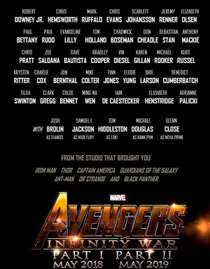 Avengers Infinity War Parts I and II cast