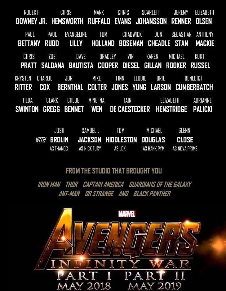 Avengers Infinity War Parts I and II cast