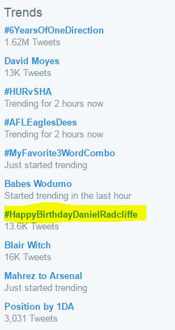 Worldwide Twitter Trend on Daniel Radcliffe's Birthday (Fb.com/DanielJacobRadcliffeFanClub)