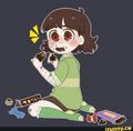 Chara Dreemurr eating chocolate