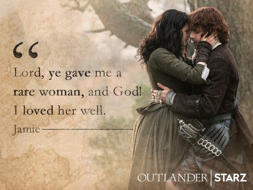 outlander série de televisão 2014 wallpaper possibly containing a sign titled Claire and Jamie