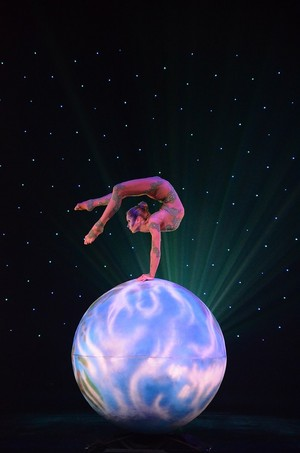 Contortionist performance on ball