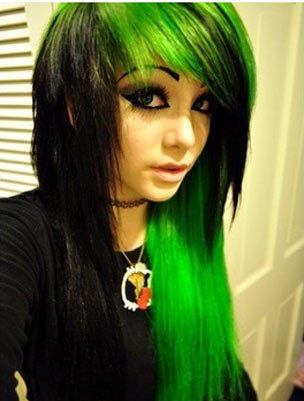 Emo Girl With Black Hair And Green Eyes Regarding Hairstyles Good ...