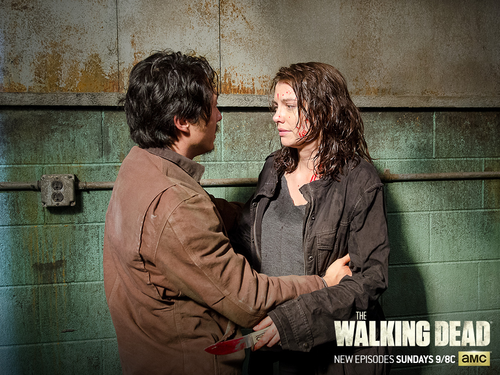 Walking Dead fond d'écran with a sign entitled Glenn and Maggie