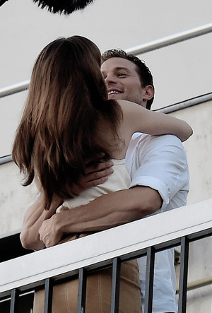 Jamie and Dakota in Paris filming Fifty Shades Freed