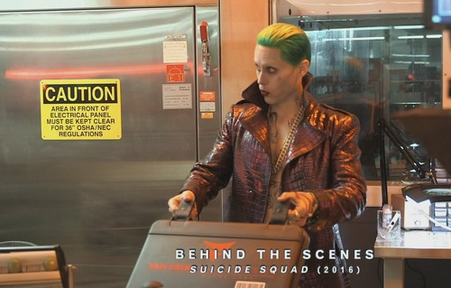 Suicide Squad 壁纸 probably with a sign, a diner, and a business suit entitled Jared Leto as The Joker ~ Behind-The-Scenes