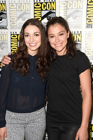 Kathryn Alexandre and Tatiana Maslany at the Orphan Black Press Line