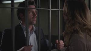 Grey's Anatomy Couples karatasi la kupamba ukuta with a holding cell titled Meredith and Derek 269